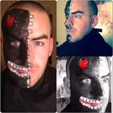 halloween half mask painted face tutorial youtube