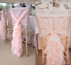 2017 blush pink chair sashes chiffon ruffles chair covers romantic