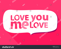 love you love me typography quote stock vector 365084813
