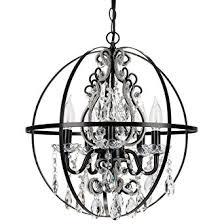 Orb Ceiling Light Black Orb Chandelier Metal Sphere In 5 Light Swag