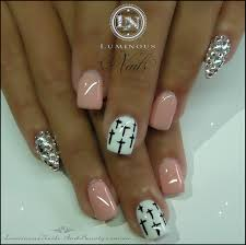 luminous nails pink nails with crystal pointy pinkie