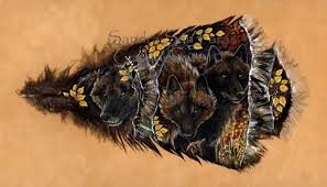 turkey feather painting autumn twilight black wolves on painted feather print