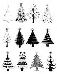 christmas trees set b u0026w u2014 stock vector wingedcats 7523459