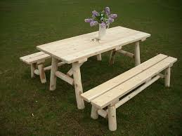amazon com white cedar log picnic table with detached bench 6