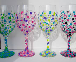 wine glass gift four painted wine glasses polka dot wine glasses custom