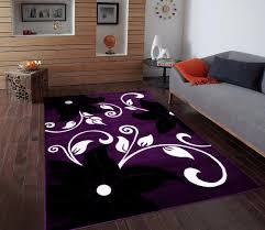 Purple And Black Area Rugs T1014 Purple Black White 5 2 X 7 2 Floral