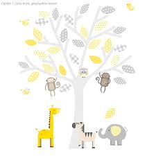 grey and yellow safari fabric wall stickers by littleprints grey and yellow safari fabric wall stickers