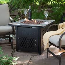 Outdoor Lp Fireplace - uniflame slate mosaic propane fire pit table with free cover