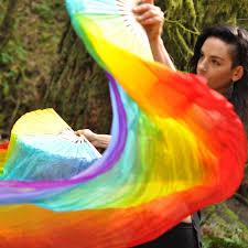 silk fans rainbow silk veil fans festival flow moodhoops