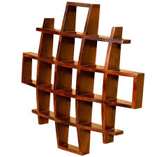 wood wall shelf display with several racks made of pine wood in