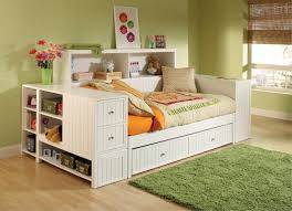 furniture bookcase daybed with trundle drawers using cream and