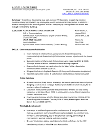Sample Resume Public Relations Sample Public Relations Resume