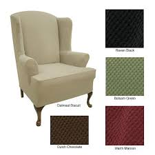 Stretch Wing Chair Slipcover Stretch Wing Chair Cover Free Shipping Today Overstock Com