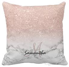 throw pillow case custom faux rose pink glitter ombre white