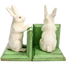 bunny bookends studious rabbit bookends home kitchen