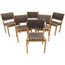 Leather Captains Chairs Set Of Six Alvar Aalto Woven Seat Dining Chairs At 1stdibs