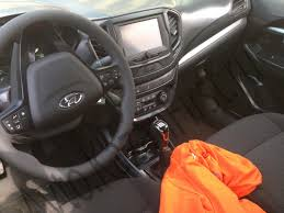 lada jeep 2016 lada vesta interior with touchscreen display spotted