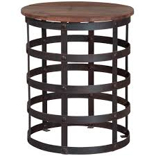 iron and wood side table black metal and glass ends round 17 precious round metal end table