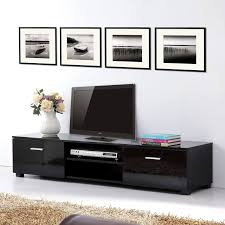 long black wooden tv stand with door panel and open shelves added