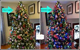 artificial tree with clear and colored lights
