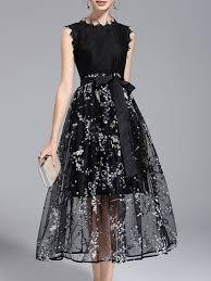 midi dress black crew neck floral a line midi dress with belt
