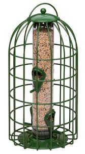 adjustable caged seed feeder cleverly designed to outwit the