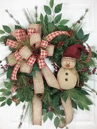 christmas wreath winter wreath snowman wreath country wreath by