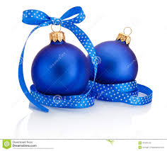 Christmas Decorations Blue Bows by Two Blue Christmas Ball With Ribbon Bow Isolated On White Stock