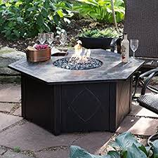 Backyard Fire Pit Images Amazon Com Hiland Fire Pit Hexagon With Slate Table Large