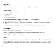 Education Resume Sample by Music Teacher Resume Examples Objective To Create And Foster A
