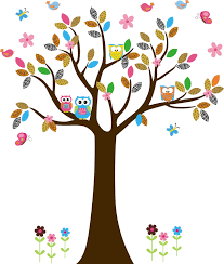 Owl Wall Sticker Tree Wall Decal With Jungle Animal Patterned Leaves Owls Birds