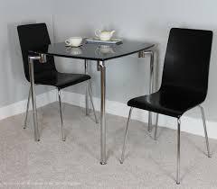 Fiji Small Dining Set  Table  2 Chairs  Black High Gloss  Chrome