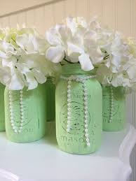 jar center pieces painted jar wedding centerpieces