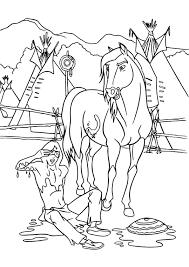 coloriage un indien tombe de cheval