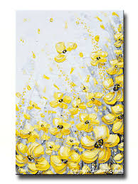 Poppy Home Decor by Giclee Print Art Yellow Grey Abstract Painting Poppy Flowers