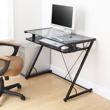 Walmart Furniture Computer Desk Mainstays Solar Glass Top Desk Black Walmart