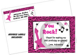 rock star diva thank you cards