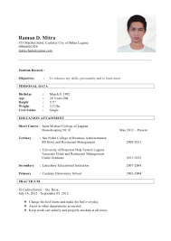 Sample Resume For Hotel And Restaurant Management Graduate by Ramon Mitra Resume