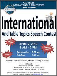 Table Topics Toastmasters Club Speech Contests Millennium Toastmasters Representing Hemet