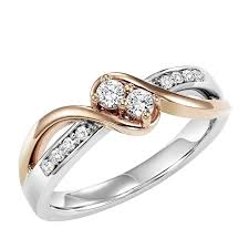 two diamond ring 14k two tone twogether 1 4cttw 2 plus gold diamond ring