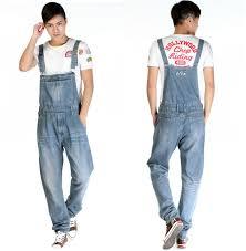 denim jumpsuit mens 2014 fashion reminisced vintage trousers casual wash