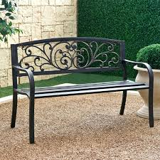 Rustic Outdoor Furniture by Coral Coast Metal Scrolling Hearts Curved Back Garden Bench