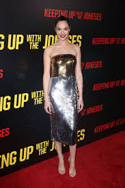 keeping up with the joneses gal gadot gold and silver sequin dress keeping up with the joneses