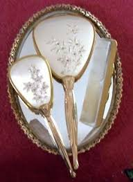 Vanity Greeley Mall Antique Sterling Silver Hand Mirror And Hair Brush Set Hair