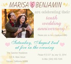 10th year wedding anniversary 10 year wedding anniversary party invitations amazing party ideas