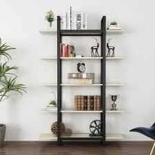 amazon com tribesigns 5 tier bookshelf vintage industrial style