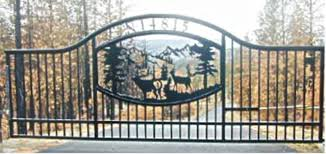 ornamental iron automatic single swing drive gates gallery 3