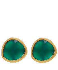 green stud earrings lyst vinader gold plated green onyx siren stud earrings