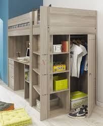 masculine dark wooden teenage loft bed with desk mixed small