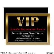 Vip Invitation Cards Vip Black U0026 Gold Luxury Party Invitation Bachelor Party